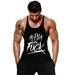Wholesale Tank Top Yellow Sexy - Wholesale- Brand Gymwear Tank Top Men bodybuilding stringer male Fitness Singlet Sleeveless shirt Workout Clothes Golds Plus size 2XL