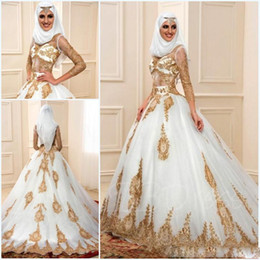 Wholesale Long Indian Wedding Dresses - Muslim Wedding Dresses 2017 With Gold applique And 3 7 Sleeves Sexy sheer indian styles arabic a-line bridal gowns robe de mariage
