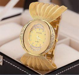 Wholesale Wholesale Rhinestone Mesh Dress - Luxury Mesh wristwatch oval gold bracelet alloy quartz watch for women dress watches rhinestone women's watches A078