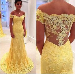 Wholesale Elegant Dress Real Sample - Real Sample Yellow Lace Mermaid Evening Dress Vestidos 2017 Hot Sale Off Shoulder Lace Applique Prom Dress Elegant Party Dress