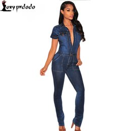 Wholesale Jumpsuits Longo - Wholesale- 2016 Fashion Macacao Jeans Longo Rompers Dark Denim Button Down Jumpsuit Overalls Women Full Length Trousers rainbow bodysuit
