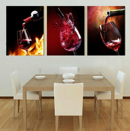 Wholesale Poster Frames Sizes - 3pcs set Modern Wine Painting (No Frame) Canvas Posters Wall Decor Giclee Art picture for Living Room Home Office Decor(Size:5 sizes)