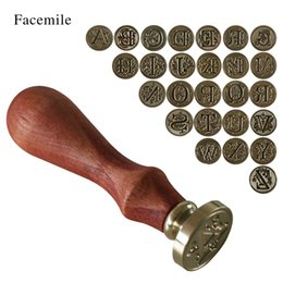 Wholesale Initial Seals - Wholesale- 1PCS Wood Classic 26 Letter A-Z Alphabet Initial Sealing Wax Seal Stamp Post Decorative ZMYZ