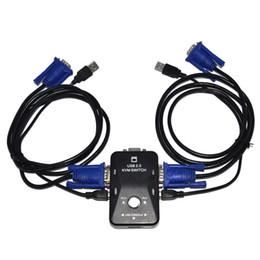 moniteur de sortie vidéo Promotion Commutateur KVM USB 2.0 à 2 ports, boîtier de commutation VGA SVGA, 2 câbles KVM pour partage d'ordinateur Souris Clavier Moniteur