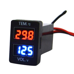 Wholesale Digital Volt Display - Digital Voltmeter Temperature Gauge 2 in 1 Voltage Temp Meter Red Blue LED Dual Display for New Toyota Size 1.29*0.88inch