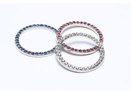 Schwarze ring rosa diamanten online-100X / lot General interior Startschalter Taste Diamant Ring Zubehör Dekorative Ring Weiß BLAU ROSA DIY