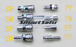 "Wholesale Quick Coupler Socket - 8pcs 1 4"" Pneumatic Air Compressor Hose Quick Coupler Plug Socket Connector Set, pneumatic quick coupler,"