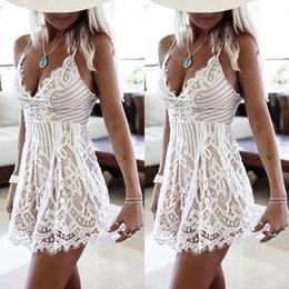 Wholesale Summer Party Dresses Design Casual - Unique design woman slim party dress summer style 2017 new arrival white lace dress sleeveless mini length dress for women