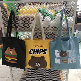 Wholesale Wholesale Chips Cell Phones - new Brown bear burgers potato chips printed student shopping bag zipper women girls totes shoulder bag