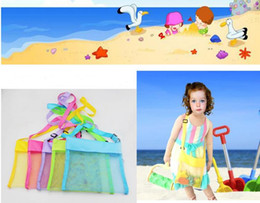 square toys Promo Codes - 5color Wholesale Blanks Children Mesh Shell Beach seashell Bag Kids Beach Toys Receive Bag Mesh Sandboxes Away