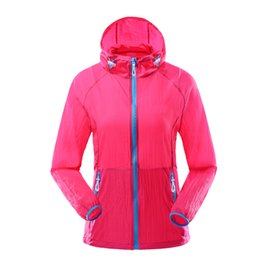 Wholesale Fitness Shells - Wholesale- Women Sports Coats Light Thin Hooded Running Jackets Sunscreen Breathable Outdoors Soft Shell Clothing Fitness Jogging Raincoat