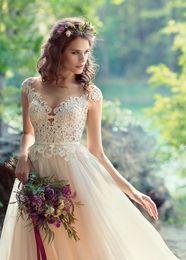 Wholesale fabulous dresses - Fabulous Lace Appliques A-Line Beach Boho Wedding Dresses 2017 Sheer Bateau Neck Covered Button Back Cap Sleeves Bridal Wedding Gowns