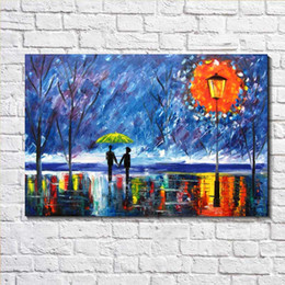 Wholesale Autumn Canvas Wall Art - Modern Decor Canvas Print Lovers Rainy Night Autumn Park European Oil Painting on Canvas Wall Art Picture Decor Canvas Poster Painting