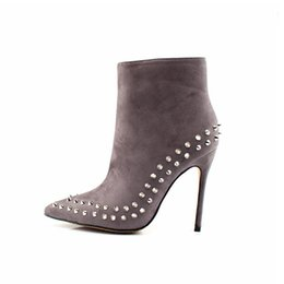 Wholesale stiletto heel fur boots - Black Ankle Boots Women High Heels Pointed Toe Sexy Snow Boots Woman Shoes Rivets Winter Women Boots With Fur Botas Mujer