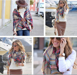 Wholesale Cashmere Large Scarf - Lady Fashion Plaid Scarf Grid Tassel Wrap Oversized Check Shawl Tartan Cashmere Scarves Women Winter Large Neckerchief Lattice Blankets