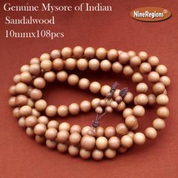 Wholesale Indian Rosary - 10mmx108pcs beads Rosary bracelet Necklace natural Milk aroma Mysore of indian sandalwood Santalum yoga chant and meditate buddhist