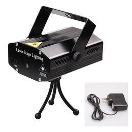 Wholesale Plug Mini Night Lights - Wholesale- Mini Portable 110-240V Wonderful R&G Red Green Laser Projector Stage Light Night Club Lighting Home Party DJ Disco US Plug