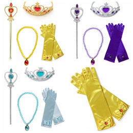 Wholesale Gift Set For Party - purple blue Yellow Dress Up Party Costume Accessories 4 Pieces Gift Set For Princess Belle elsa rapunzel cosplay Tiara crown Wand and Gloves