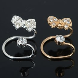Wholesale Ear Cartilage - 20 Pcs Gold Silver Plated Ear Cuff Wrap Crystal Cartilage Clip Earring Bow Tie Ear Clips Body Jewelry For Women