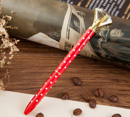 Wholesale Large Bullet - GIFT Bullets Rotary Large Diamond Metal Crystal Pen Ruby Sculpture Glass Oily Pen Paint Drill Ballpoint pen