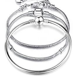 Wholesale 925 Silver Diamond Bangle - 925 Sterling Silver Love Heart Chain Bracelet for Female Charms Bracelets amp Bangles Silver Jewelry