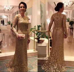 Wholesale Mother Bride Dresses Halter - New Halter Gold Custom Made Full Lace Mother of the Bride Dress Long Sleeves Fitted Boat Neck Sweep Train Formal Mermaid Prom Evening