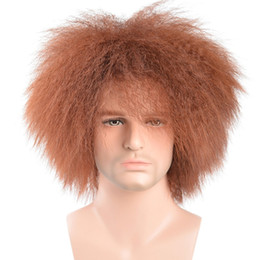 Wholesale Synthetic Wigs For Men - New Fashion Women Men Short Hair Kinky Curly Wig Synthetic For Heat Resistant African American Hair Top For Full Head