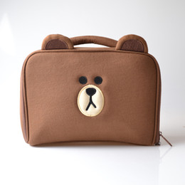 Wholesale Designed Bags For Woman - 2017 Hot Sale Brown bear cartoon design Cosmetic Bags,Free Shipping makeup bags for Women