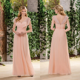 Wholesale T Length Wedding Dress Cheap - Custom Made Chiffon Bridesmaids Dresses Coral 2017 Elegant A Line V Neck Pleats Long Maid of Honor Wedding Guest Dresses Cheap