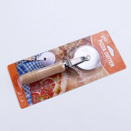 wooden handled knives Coupons - Stainless Steel Pizza Cutter With Wooden Handle Pizza Knife Cutter Pastry Pasta Dough Crimper Round Hob