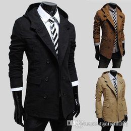 Wholesale Trench Dark Blue - Suited Man Trench Coat Cotton Winter Mens Trench Hooded Casual Single Breasted Long Pea Overcoats For Men Solid Mult-color Trench J160754
