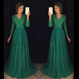 Wholesale Emerald Green Long Sleeves Dress - Emerald Green 2016 Evening Dresses Elegant Chiffon Beaded Sashes Formal Long Prom Gowns With Long Sleeves V-neck Sweep Train Party Gowns