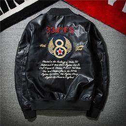 Wholesale Mens Leather Sleeve Jackets - 2017 New Fashion Black PU Embroidery Pilot Mens Leather Jacket 1323