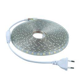 Wholesale Flexible Power Strip - AC110V 220V led strip light SMD5050 2M 4M 5M 7M 8M 9M 10M 25M 20+Power Plug 60leds M Waterproof Silicone light flexible tabe