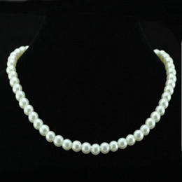 Wholesale Choker Bib Necklace - Chic Single Strand Faux Imitation Pearl 6mm Pearl Bib Statement Necklace Jewellery Gift Fashion Womens Short Chain Fine Jewelry For Women