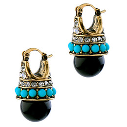 Wholesale Palace Crystals - New Vintage Round Black Palace Crystal Jewelry Fashion Brand Stud Earrings For Women 2017 Innovative Bijoux