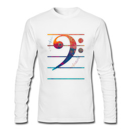 Wholesale T Shirts For Boys Wears - Music Footsteps men long sleeved t-shirts fashion gradient men's simple tops trendy street wear for boys art design Bass Clef Color