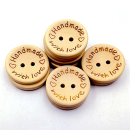Wholesale Diy Scrapbook Decoration - 15mm Wooden Buttons 2 holes round love heart for handmade Gift Box Scrapbook Craft Party Decoration DIY favor Sewing Accessories