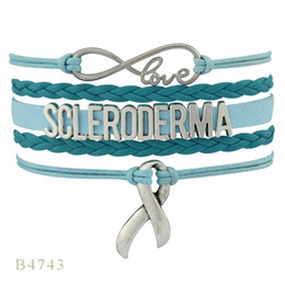 Wholesale Add Heart - (10 PCS Lot) Infinity Love Sclerooerma Ribbon Charm Women's Mens Gift Turquoise Add Teal Leather Multilayer Wrap Bracelet Custom