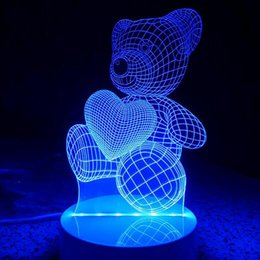 Wholesale Care Bears Parties - Care bears Colorful 3D light Furnishing creative lamp decorations