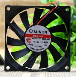 Wholesale Thin Radiator Fan - SUNON 8CM 8015 12V ME80151V1-000C-A99 1.96W 2 line ultra thin mute radiator fan