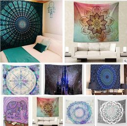 Wholesale Psychedelic Art - Hippy Mandala Tapestry Bohemian Elephant Tapestry Wall Hanging Psychedelic Wall Art Dorm Decor Beach Throw Indian Wall Tapestries 21 styles