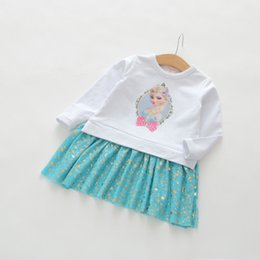 Wholesale Beauty Mosaic - 2017 new best-selling children cotton beauty skirt children cartoon snow and ice Mosaic gauze dress free shipping