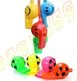 Wholesale Funny Soccer - colorful soccer funny face kid fans whistle cheerleading children whistle foodball soccer ball whistles With rope