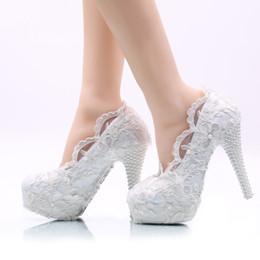 Wholesale Platform Heels 5cm - 5cm 8cm 11cm 14cm Women Fashion Sweet White Flower Lace Platform High Heels Pearls Wedding Shoes Bride Dress Shoes