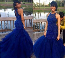 Wholesale Sexy Indian Girls - Royal Blue Prom Dresses 2017 Sexy Back Mermaid Hard Beadings Evening Party Gowns Indian Black Girl Dress Vestido De Festa For Women Special