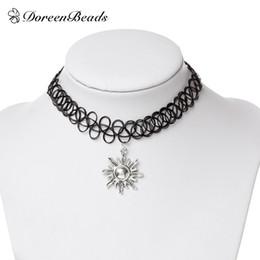 "Wholesale Peace Tattoos - DoreenBeads Black Tattoo Choker Necklace Vintage Elastic peace cross sun star Pendants Mathilda Leo Jewelry 30cm(11 6 8"") long"