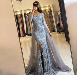 Wholesale Nude Chiffon - Silver Lace 2018 Evening Dresses Long Sleeve Cap Sleeves Overskirts Formal Arabic Dubai Mermaid Prom Gowns Split Side