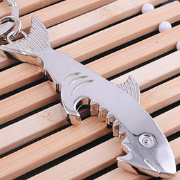Wholesale Shark Key Chain - Shark Style Beer Bottle Opener Keychain Multifunction Corkscrew Metal Key Chains Souvenirs Gifts Wholesale