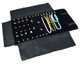 Wholesale Corner Display - Gold Corner Black Velvet Combo Ring Earring Necklace Travel Roll Jewelry Display